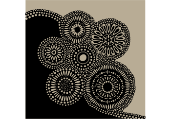 Abstract Circles Dots Flowers Black on Tan Print
