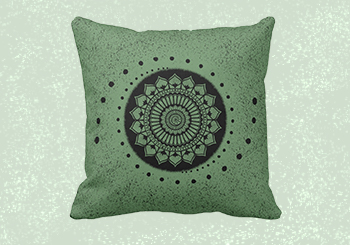 Henna Mandala 2 - Flower and Spiral Design Square Throw Pillow