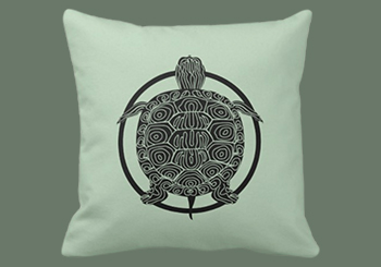 Map Turtle Drawing - Wildlife Circle Series Square Throw Pillow